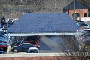 Solar array on the parking deck of Washington and Lee University