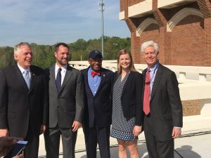 Speakers at the ribbon cutting event. From Left to Right: Governor Terry McAuliffe, Rob Andrewjeski, Dr. Ronald Crutcher, Zoe Kolberg-Shuler and Tony Smith.