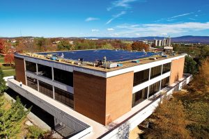 Solar array on the Sadie Hartzler Library at Eastern Mennonite University